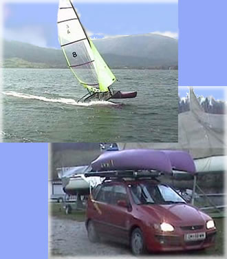 The catamaran on the car roof